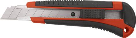 Нож Контрфорс c системой фиксации лезвия Auto-lock, 18 мм10174Нож Контрфорс c системой фиксации лезвия предназначен для работы с бумагой, плотным картоном, пленкой и т.д. Корпус ножа выполнен из пластика и металла. Выдвижное многосекционное лезвие изготовлено из высококачественной нержавеющей стали. Нож оснащен системой блокировки лезвия Auto-lock.