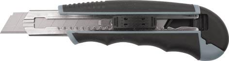 Нож технический Гранд, 18 мм (6 запасных лезвий в комплекте), в ассортименте020280Нож технический Гранд c системой фиксации лезвия предназначен для работы с бумагой, плотным картоном, пленкой и т.д. Корпус ножа выполнен из пластика, с прорезиненными вставками. Выдвижное лезвие изготовлено из инстументальной стали. 6 запасных лезвий в комплекте.
