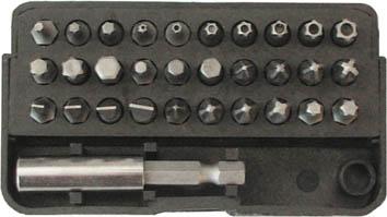 Набор бит FIT, 31 шт57854Набор бит FIT предназначен для монтажа/демонтажа резьбовых соединений. В состав набора входит: Держатель для бит. Биты шлецевые: 3 мм, 4 мм, 5 мм, 6 мм. Биты крестовые: РН1, РН2, РН2, РН3, РZ1, PZ2, РZ2, РZ3 Биты шестигранные: Н3, Н4, Н5, Н6, Т10, Т15, Т20, Т25, Т27, Т30, Т40, Биты шестиугольные: Т10, Т15, Т20, Т25, Т27, Т30, Т40. Пенал для хранения.