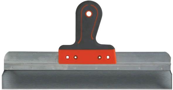Шпатель FIT фасадный с прорезиненной ручкой, 20 см06432Шпатель FIT фасадный предназначен для нанесения и выравнивания строительных смесей на поверхностях. Удобная прорезиненная ручка, полотно из нержавеющей стали.