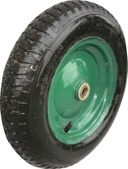 Колесо запасное для тачки FIT, 100 x 400 мм, 200 кг. 7756277562Колесо FIT является запасным элементом для тачки. Имеет резиновую шину и камеру, крашенный диск. Диаметр надувного колеса 100 x 400 мм. Шариковый стальной подшипник обеспечивает прочность и надежность конструкции. Грузоподъемность колеса составляет 200 кг.
