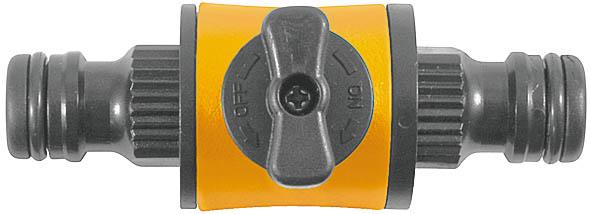 Переходник двухкомпонентный с запорным клапаном оранжевый77756С запорным клапаном. Применяется для быстрого и надежного соединения двух шлангов, с универсальными соединителями на концах, запорный клапан для регулировки подачи воды. Материал: ABS пластик с прорезиненными вставками. Упаковка: блистер.