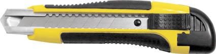 Нож FIT c системой фиксации лезвия Auto-lock, 18 мм (1 запасное лезвие в комплекте)10258Нож FIT c системой фиксации лезвия предназначен для работы с бумагой, плотным картоном, пленкой и т.д. Корпус ножа выполнен из пластика и металла. Выдвижное многосекционное лезвие изготовлено из высококачественной нержавеющей стали. Нож оснащен системой блокировки лезвия Auto-lock.