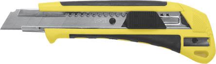 Нож FIT c системой фиксации лезвия Auto-lock, 18 мм (2 запасных лезвия в комплекте)10260Нож FIT c системой фиксации лезвия предназначен для работы с бумагой, плотным картоном, пленкой и т.д. Корпус ножа выполнен из пластика и металла. Выдвижное многосекционное лезвие изготовлено из высококачественной нержавеющей стали. Нож оснащен системой блокировки лезвия Auto-lock имеет встроенную точилку.