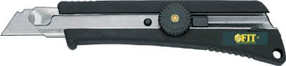 Нож FIT c системой фиксации лезвия Twist-lock, 18 мм10323Нож FIT c системой фиксации лезвия предназначен для работы с бумагой, плотным картоном, пленкой и т.д. Корпус ножа выполнен из пластика и металла. Выдвижное многосекционное лезвие изготовлено из высококачественной нержавеющей стали. Нож оснащен системой блокировки лезвия Twist-lock.