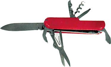 Нож складной FIT, 11 функций10541Карманный нож FIT – это многофункциональный инструмент с набором из 11 функций: большое лезвие; пила; ножницы; консервный нож; малая отвертка; открывалка для бутылок; инструмент для снятия изоляции; кольцо для ключей; пинцет; штопор; зубочистка.