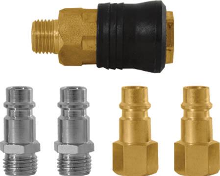 Набор адаптеров FIT, 5 шт81127Набор адаптеров FIT предназначен для соединения с пневматической линией, инструментом, компрессором. Набор состоит из 2 ниппелей европейского типа с наружной резьбой, 2 ниппелей европейского типа с внутренней резьбой и 1 муфты с запорным клапаном универсального типа. Характеристики: Материал: латунь, сталь, пластик. Наружная резьба ниппеля: М13. Шаг резьбы: 1,5 мм Под ключ: S = 14 Размер: 1 см х 1 см х 3 см. Внутренняя резьба ниппеля: М13. Шаг резьбы: 1,5 мм Под ключ: S = 16 Размер: 1,5 см х 1,5 см х 3 см Наружная резьба муфты: М13 Шаг резьбы: 1,5 мм Под ключ: S = 19 Размер: 3 см х 3 см х 5 см Размер упаковки: 11 см х 2,5 см х 24 см