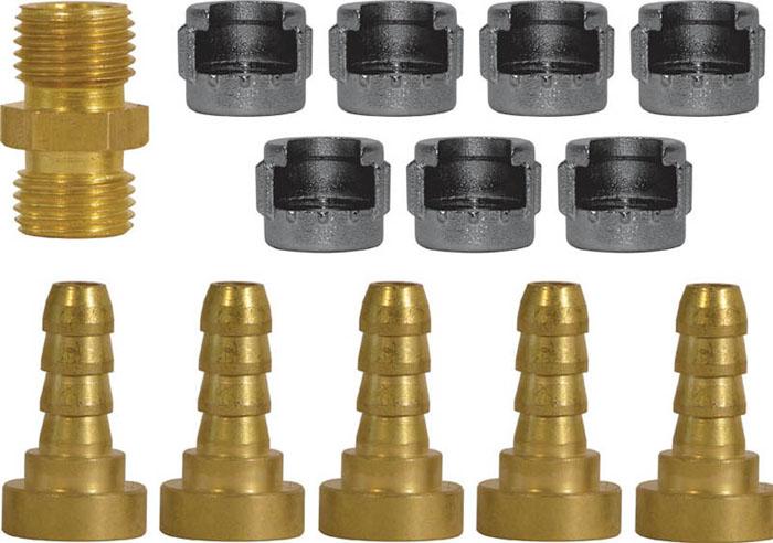 Набор адаптеров FIT, 13 шт81129Набор адаптеров FIT предназначен для соединения с пневматической линией, инструментом, компрессором. Набор состоит из 5 адаптеров, 7 гаек для байонетного соединения и 1 адаптера на пистолет с внешней резьбой. Характеристики: Материал: латунь, дюралевый сплав. Размер адаптера: 1,5 см х 1,5 см х 2,5 см. Размер гайки: 1,5 см х 1,5 см х 1,8 см Размер адаптера на пистолет с внешней резьбой: 1,8 см х 1,8 см х 2,3 см Размер упаковки: 13 см х 2 см х 17,5 см