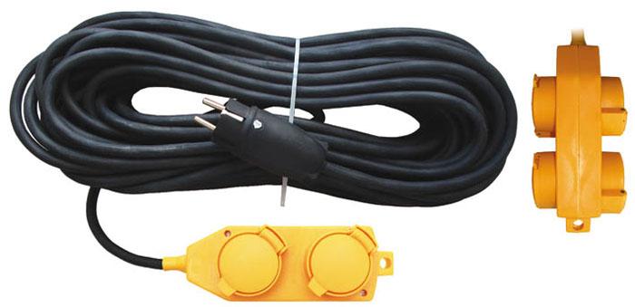 Удлинитель силовой UNIVersal влагозащищенный, 10 м, 4 розетки. 963413183289Силовой удлинитель с заземлением UNIVersal рассчитан на подключение к розетке от одного до четырех электроприборов. Незаменим при строительных и ремонтных работах, когда приборы, требующие электропитание, расположены на удаленном расстояние от розетки до 10 метров. Можно использовать как дома, так и в гараже, на приусадебных участках. Срок службы данного удлинителя долог. Это обеспечивается за счет ряда факторов. Во-первых, есть двойная изоляция провода, защищающая его от механических повреждений. Во-вторых, контакты вилок изготовлены из латуни и покрыты слоем никеля, что не позволяет им долгое время окисляться под воздействием внешней среды. Обеспечивается надежное электрическое соединение с контактами розеток. Слой каучука, покрывающий розетку, повышает прочность изделия и защищает ее от разрушения при ударах о твердые предметы, а его диэлектрические свойства повышают безопасность работы.