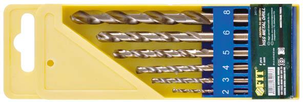 Набор сверл по металлу FIT, 5 шт. 3401134011Набор сверл по металлу FIT используется в промышленности, на производствах, в мастерских. Высококачественные сверла изготовлены из усиленной HHS стали с титановым покрытием. Сверла содержат 5% кобальта, за счет чего повышается эффективность и обеспечивается стабильная работа при высоких температурах, к примеру, во время сверления тяжелых материалов.