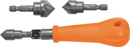 Зенкер ручной FIT, 3 насадки36440Зенкер ручной FIT используется для ручного зенкерования отверстий. В наборе 3 конических зенкера с хвостиками под биту и держателем.