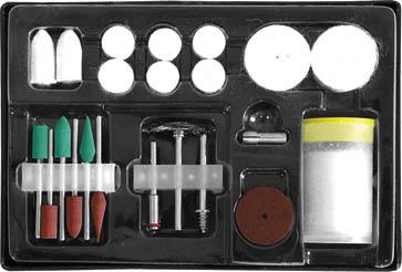 Набор корщетки/шарошки FIT в чемоданчике, 22 шт. 3649236492Набор корщетки/шарошки FIT в чемоданчике предназначен для бытового использования. Он состоит из приспособлений для шлифовки и полировки различных поверхностей. Применяется с мини дрелью и гравировальной машинкой. В наборе: фетровые насадки, штифт для фетровой насадки, резиновый полировочный круг, штифт для полировочного круга, зажимной патрон, мини корщетка-насадка тип колесо, резиновые шарошки, полировочная паста.