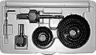 Пила круговая Fit Профи, в чемоданчике, 21 - 64 мм, 8 шт36741Пила круговая Fit Профи используется с дрелями для сверления отверстий переменного диаметра в древесине различных пород, фанере, ДСП и гипсокартоне. Диаметры пил: 19-22-28-32-38-44-51-64 мм. Пилы изготовлены из термообработанной инструментальной стали. В комплекте 8 штук, поставляются в пластиковом чемодане, удобном для хранения и транспортировки.