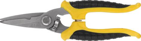 Ножницы электрика FIT, 180 мм60042Ножницы электрика FIT 60042 предназначены для резки электрических кабелей, алюминиевой проволоки, сеток из металлической проволоки, толщиной до 0,5 мм и кожи. Специальные зубцы, предотвращают скольжение при резке. Ручки с возвратной пружиной полностью прорезинены.