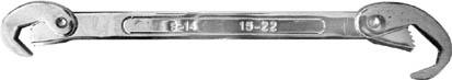 Ключ универсальный FIT, 9-22 мм. 6377163771Универсальный ключ FIT используется для выполнения работ с резьбовыми соединениями различных размеров. Зубчатые рабочие поверхности обеспечивают прочный и уверенный обхват крепежных элементов. Он обладает высокой прочностью и является двухсторонним.