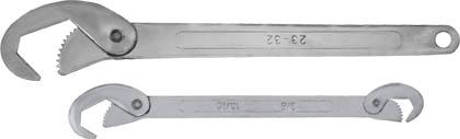 Ключи универсальные Fit, 2 шт. (9-22 мм, 23-32 мм)63782Набор универсальных ключей Fit используется для выполнения работ с резьбовыми соединениями различных размеров. Зубчатые рабочие поверхности обеспечивают прочный и уверенный обхват крепежных элементов. Набор включает в себя два предмета, удобных в использовании и обладающих высокой прочностью. Один из ключей является двусторонним, а на другом в хвостовой части ручки предусмотрено отверстие для подвеса. Размер обхвата малого ключа 9-22 мм, а большого 23-32 мм.