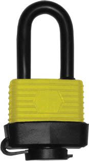 Замок навесной FIT всепогодный, 40 мм, длина дужки 5 см67193Навесной всепогодный замок FIT оснащен удлиненной дужкой диаметром 0,5 мм, которая не поддается распилу ножовкой или раскусыванию. Прочный корпус из стали, цилиндровый латунный механизм, пластиковый кожух, все это является гарантией надежной работы замка на протяжении длительного срока.