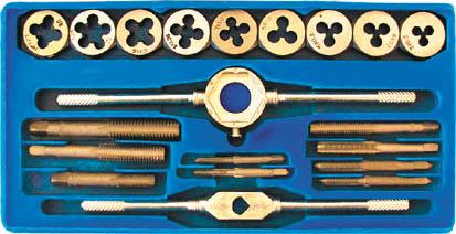 Набор лерок-метчиков FIT, 20 шт70780Набор лерки-метчики FIT состоит из специальных инструментов для создания внутренней и наружной резьбы на тонких стальных трубах. Все предметы упакованы в металлическую коробку, что обеспечивает удобное хранения. Все инструменты выполнены из инструментальной легированной стали, отличаются износостойкостью и высокой прочностью. Размеры метчиков и лерок: 3 x 0,5; 4 x 0,7; 5 x 0,8; 6 x 1,0; 7 x 1,0; 8 x 1,25; 10 x 1,5; 12 x 1,75 мм. 1/8 NPT.