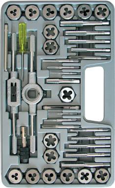 """Набор лерок-метчиков FIT, 40 шт70807Набор лерок-метчиков FIT используется для нарезания внешней и внутренней резьбы на тонкостенных стальных трубах и трубах из цветных металлов. В набор входят: 2 метчикодержателя, леркодержатель 1"""", резьбомер, отвёртка, 17 метчиков и 17 лерок. Размеры: М3х0.5; М3х0.6; М4х0.7; М4х0.75; М5х0.8; М5х0.9; М6х0.75; М6х1.0; М7х0.75; М7х1.0; М8х1.0; М8х1.25; М10х1.25; М10х1.5; М12х1.5; М12х1.75; 1/8 NPT. Материал: легированная инструментальная сталь. Упаковка: пластиковый чемодан."""