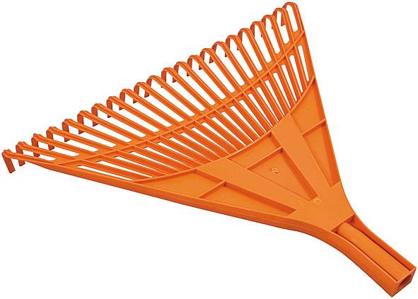 Грабли веерные FIT, цвет: оранжевый, 22 зуба77002Веерные пластиковые грабли FIT идеально подходят для работы на садовом участке, для сбора мусора, срезанных веток и сухой листвы. Зубья выполнены из прочного пластика и имеют веерную форму. Они не имеют черенка, что позволяет подобрать рукоятку необходимой длины.
