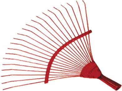 Веерные проволочные грабли FIT, цвет: красный, 22 зуба