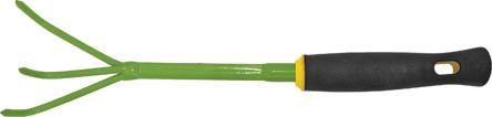 Рыхлитель мини FIT, 400 мм. 7702277022Рыхлитель FIT обладает прочной стальной конструкцией, для продолжительной работы. Удобная мягкая прорезиненная рукоятка обеспечивает комфорт во время проведения работ. Инструмент служит для прополки и рыхления земли вокруг насаждений.