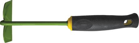 Тяпка мини FIT, 290 мм. 7702677026Тяпка мини FIT применяется для обработки почвы на грядке. Тяпка не занимает много места благодаря оптимальному размеру. Лезвие выполнено из углеродистой стали с напылением из ПВХ. Рукоять прорезинена, что исключает скольжение и снижает утомляемость оператора.