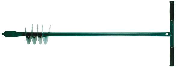 Бур садовый шнековый FIT с ручкой, цвет: зеленый, 850 мм77240Бур садовый шнековый FIT - это ручной инструмент для бурения скважин и цилиндрических отверстий в грунте. Применяется в саду, огороде и на строительных площадках. Бур изготовлен из инструментальной стали, поэтому отличается прочностью и долгим сроком службы.