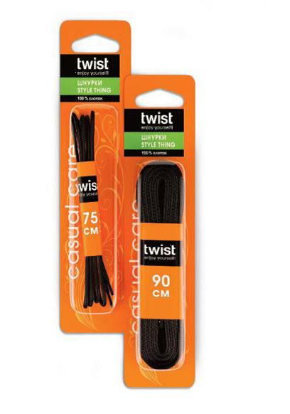 Шнурки тонкие Twist Style, цвет: черный, длина 75 смTW03-C0036Тонкие шнурки Twist Style изготовлены из натурального хлопка. Крепкие и удобные шнурки являются неотъемлемым аксессуаром и подходят для ношения модельной или предназначенной для отдыха и туризма обуви. Подходят для обуви с 8-10 отверстиями.