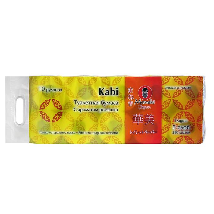 Туалетная бумага Maneki Kabi, трехслойная, цвет: белый, 10 рулоновТР043Трехслойная туалетная бумага Maneki Kabi, выполненная из натуральной экологически чистой целлюлозы, подарит превосходный комфорт и ощущение чистоты и свежести. Бумага имеет приятный цветочный аромат ромашки. Необыкновенно мягкая и шелковистая, но в тоже время прочная, бумага не расслаивается и отрывается строго по линии перфорации.