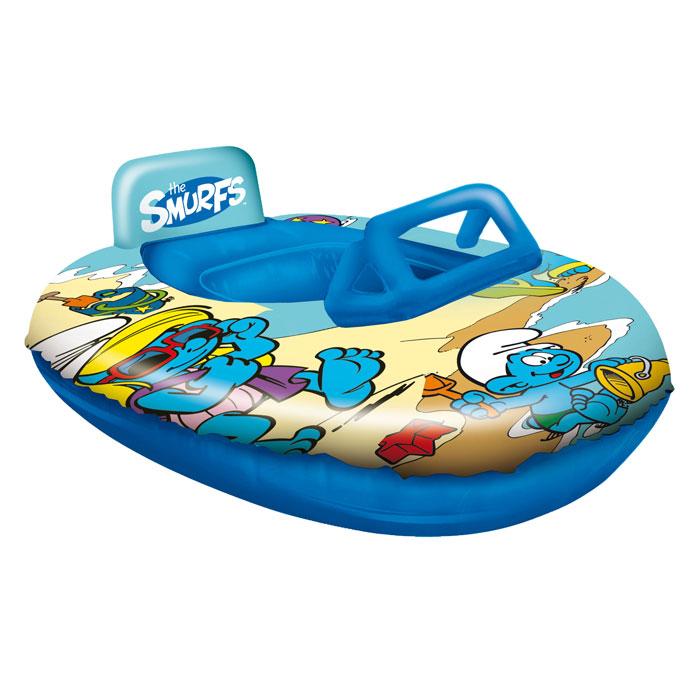 Лодка надувная Mondo Смурфы, цвет: синий, 90 см х 65 см16/386Надувная лодка Mondo Смурфы, выполненная из прочного ПВХ синего цвета, напоминает маленький катер. Она снабжена в передней части стилизованной под ветровое стекло прозрачной вставкой и невысоким подголовником сзади. Лодка оформлена изображениями героев популярного мультфильма Смурфики. Такая лодочка станет незаменимым атрибутом летнего отдыха!