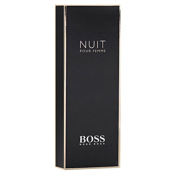 Hugo Boss Парфюмерная вода Boss Nuit Pour Femme, 50 мл0737052549941Hugo Boss Boss Nuit Pour Femme подобен маленькому черному платью, в котором нет ничего лишнего. Оно идеально подчеркивает элегантность, чувственность и женственность своей обладательницы. Композиция аромата соткана из нежных цветочных нот жасмина, фиалки и белых цветов; дополнена сладостью сочного, спелого персика и согрета бархатистым теплом древесных нот сандала и мха. Классификация аромата: фруктовый, цветочный. Пирамида аромата: верхние ноты - альдегиды, персик; ноты сердца - жасмин, фиалка, белые цветы; ноты шлейфа - дубовый мох, сандал. Товар сертифицирован.