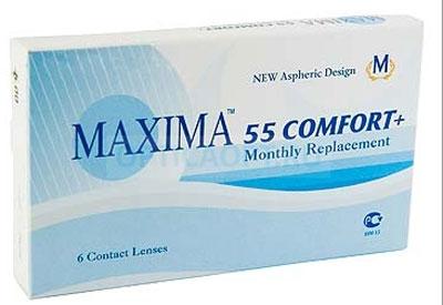 Maxima контактные линзы 55 Comfort Plus (6шт / 8.6 / -0.50)7674MAXIMA 55 Comfort+ (6 блистеров) разработанные английской компанией Maxima Optics — это лизны ежемесяцной замены, имеющие асферический дизайн и изготовленные из биосовместимого материала. Эти контактные линзы разработанны специально для людей имеющих не большую степень астигматисма, а так же желающих ощущать чувство полного комфорта в течении целого дня. Асферическая поверхность контактной линзы помогает формировать более контрастное и четкое изображение. В Maxima 55 COMFORT+ все лучи, в том числе и проходящие через периферию, собираются вместе, тем самым минимизируя оптические искажения. Другим достоинством этих линз является материал из которого они изготовленны. Контактные линзы Maxima 55 COMFORT+ обладают низким уровнем образования отложений, превосходно удерживают воду и отлично пропускают кислород к роговице глаза. Все это стало возможно благодаря совершенно новому биосовместимому материалу, благодаря ему ношение контактных линз стало еще более удобным и комфортым. ...