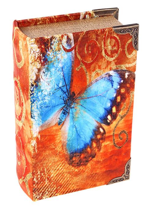 Ключница-книга Бабочка. 622912622912Декоративная ключница Бабочка, выполненная из дерева, украсит интерьер помещения оригинальным образом, поможет создать атмосферу уюта. Ключница обтянута шелком с изображением голубой бабочки. Внутренняя поверхность отделана кожзаменителем. Ключница станет не только украшением вашего дома, но и послужит функционально: она представляет собой книгу, внутри которой предусмотрено четыре металлических крючка для ключей. С обратной стороны книги есть две металлические петельки для размещения ее на стене. Украсив помещение такой необычной ключницей, вы привнесете в свой интерьер элемент оригинальности. Характеристики: Материал: дерево, шелк, кожзаменитель, металл. Размер ключницы: 10,5 см х 17 см х 5 см. Размер упаковки: 18 см х 12 см х 5,5 см. Артикул: 622912.