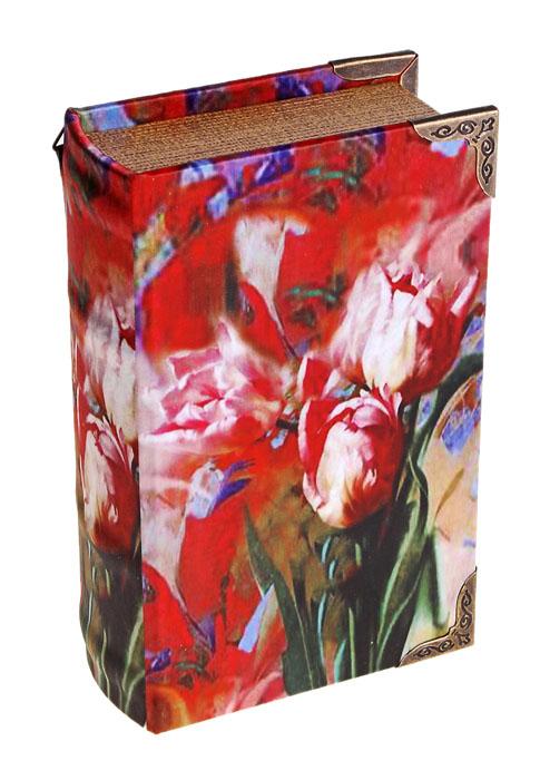 Ключница-книга настенная Красные тюльпаны. 622906622906Декоративная настенная ключница-книга Красные тюльпаны, изготовленная из дерева, поможет оригинально украсить интерьер вашего помещения. Крышка обтянута шелком с изящным изображением красных тюльпанов. Внутренняя поверхность отделана искусственной кожей бордового цвета. Внутри предусмотрено четыре металлических крючка для ключей. Сзади имеются две петельки для размещения ключницы на стене. Крышка плотно закрывается на магнит. Ключница станет не только украшением интерьера, но и поможет хранить все ключи в одном месте. Характеристики: Материал: дерево, металл, шелк. Размер ключницы: 11 см х 5 см х 17 см. Размер упаковки: 17,5 см х 12 см х 5,5 см. Артикул: 622906.