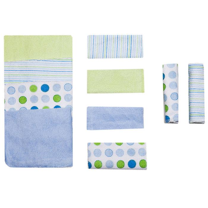 Набор салфеток для купания Spasilk, 23 см х 23 см, цвет: голубой, 10 шт010-002Салфетки для купания Spasilk прекрасно подойдут для бережного очищения нежной кожи малыша во время купания. Мягкие салфетки прекрасно впитывают влагу. В комплект входят десять салфеток: голубого, светло-зеленого цветов, белые в полоску и белые с кружками голубого, синего и светло-зеленого цветов.