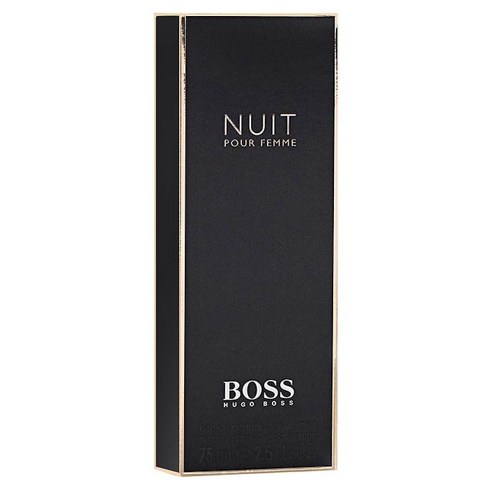 Hugo Boss Парфюмерная вода Boss Nuit Pour Femme, 75 мл0737052549972Hugo Boss Boss Nuit Pour Femme - маленькое черное платье вновь становится источником вдохновения для дизайнеров и парфюмеров. На этот раз к нему обращается модный дом Hugo Boss и создает утонченный вечерний наряд - Boss Nuit Pour Femme! Кто же она - эта таинственная героиня новой истории?! Обладательница Boss Nuit абсолютно уверена в своей красоте: ей известны все женские хитрости и уловки, она умеет преподносить себя, показывать в выгодном свете - превращая недостатки в достоинства, делая слабые стороны своими основными, сильными козырями. Классификация аромата : цветочный. Пирамида аромата : Верхние ноты: альдегиды, персик. Ноты сердца: жасмин, фиалка, белые цветы. Ноты шлейфа: дубовый мох, сандал. Ключевые слова Вечерний, изящный, утонченный, элегантный!