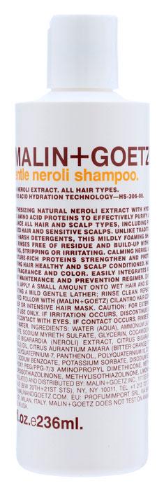 Malin+Goetz Шампунь для волос Нероли, деликатный, 236 млMG051Мягкий шампунь Malin+Goetz Нероли содержит натуральный экстракт нероли и увлажняющие протеины аминокислот, которые эффективно очищают и поддерживают баланс всех типов волосы и кожи головы, в том числе окрашенных, химически обработанных волос и чувствительной кожи головы. Нероли успокаивает, протеины аминокислот увлажняют волосы и кожу головы, ухаживая и делая их здоровыми. В отличие от традиционных грубых очищающих средств, этот шампунь умеренно пенится, полностью смывается водой и не накапливается на волосах, не вызывая сухости, повреждений и раздражения. Волосы и кожа головы становятся здоровыми и ухоженными. Не содержит хлорид натрия и подходит для химически выпрямленных волос. Подходит для частого использования и всех типов волос, включая тонкие и нормальные волосы.