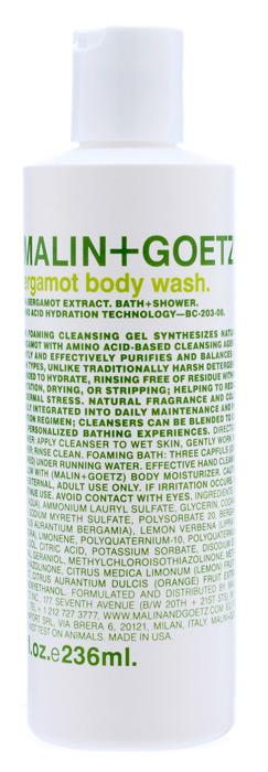 Malin+Goetz Гель для душа Бергамот, 236 млMG066Концентрированный пенящийся гель для душа Malin+Goetz Бергамот содержит натуральный бергамот и очищающие ингредиенты на основе аминокислот для мягкого увлажнения кожи и устранения эпидермального стресса. Эффективно очищает и поддерживает баланс всех типов кожи, особенно чувствительной и склонной к экземе кожи. Полностью смывается водой, не вызывает раздражения, сухости и повреждений кожи в отличие от традиционных грубых очищающих средств. Имеет тонкий аромат экстракта бергамота, известный своими освежающими, бодрящими, тонизирующими и лечебными свойствами. Подходит для использования в душе или ванной, как для мужчин, так и для женщин. Характеристики: Объем: 236 мл. Производитель: США. Товар сертифицирован.