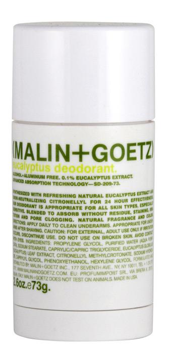 Malin+Goetz Дезодорант Эвкалипт, 73 гMG071Освежающий и эффективный дезодорант Malin+Goetz Эвкалипт не содержит спирта и алюминия и прекрасно подходит для мужчин и женщин. Дезодорант содержит натуральный экстракт эвкалипта и нейтрализатор запаха цитронеллил, которые действуют 24 часа, не забивает поры кожи и подходит для всех типов кожи, особенно для чувствительной кожи. Дезодорант Эвкалипт быстро впитывается. Специальная формула не оставляет следов на коже и одежде, не требует времени для впитывания и не вызывает раздражение кожи.