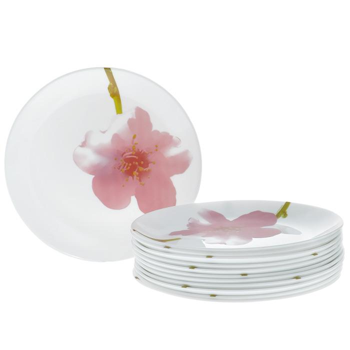 Набор десертных тарелок Luminarc Water color 12шт, 19 см, цвет: белый 07965\E4897\N07965\E4897\NНабор Water color, выполненный из высококачественного стекла белого цвета и декорированный изящным изображением розового цветка, состоит из двенадцати десертных тарелок. Тарелки предназначены для красивой сервировки различных десертов. Они прекрасно подойдут для вашей кухни и великолепно украсят стол. Изящный дизайн и красочность оформления набора придутся по вкусу и ценителям классики, и тем, кто предпочитает утонченность и изысканность. Характеристики: Материал: стекло. Комплектация: 12 шт. Цвет: белый. Диаметр тарелки: 19 см. Высота тарелки: 1,5 см. Размер упаковки: 20 см х 20 см х 7,5 см. Артикул: 07965\E4897\N.