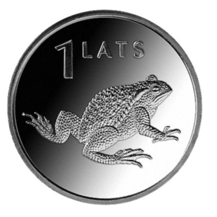 Монета номиналом 1 лат Жаба. Медно-никелевый сплав. Латвия, 2010 годL3101Монета номиналом 1 лат Жаба. Медно-никелевый сплав. Латвия, 2010 год Диаметр 2,1 см. Сохранность UNC (без обращения).