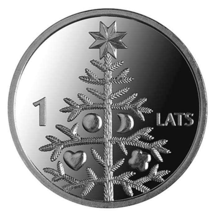 Монета номиналом 1 лат Новогодняя ель. Медно-никелевый сплав. Латвия, 2009 годL3101Монета номиналом 1 лат Новогодняя ель. Медно-никелевый сплав. Латвия, 2009 год Диаметр 2,1 см. Сохранность UNC (без обращения).