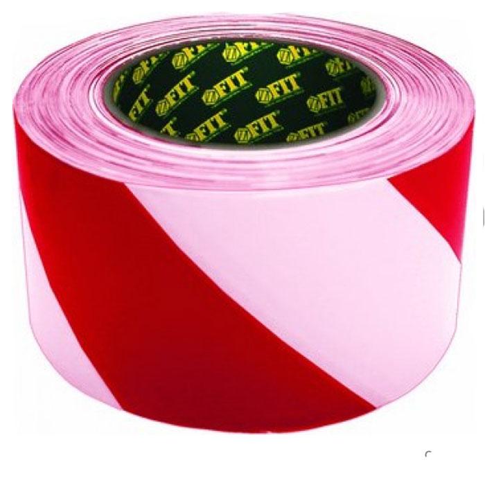 Лента сигнальная Fit, цвет: красно-белый, 50 мм х 100 м