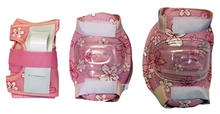 Комплект защиты Action, для катания на роликах, цвет: белый, розовый. Размер M ( PW-308P )