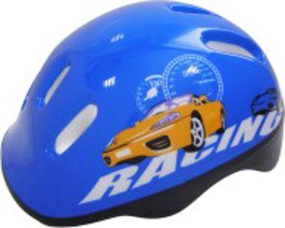 Шлем защитный Action Racing, цвет: синий. Размер XS (48/51)PWH-2Шлем Action Racing послужит отличной защитой для ребенка во время катания на роликах или велосипеде. Он выполнен из плотного вспененного пенопласта, покрытого пластиковой пленкой и отлично сидит на голове, благодаря мягким вставкам на внутренней стороне. Шлем снабжен системой вентиляции, и крепится при помощи удобного регулируемого ремня с пластиковым карабином, застегивающегося на подбородке. Оформлен он изображением машины. Характеристики: Материал: пластик, пенопласт, текстиль, поролон. Обхват шлема в лобовой части: 55 см. Размер шлема: 25 см х 19 см х 13 см. Размер упаковки: 26 см х 20 см х 13 см. Артикул: PWH-2.