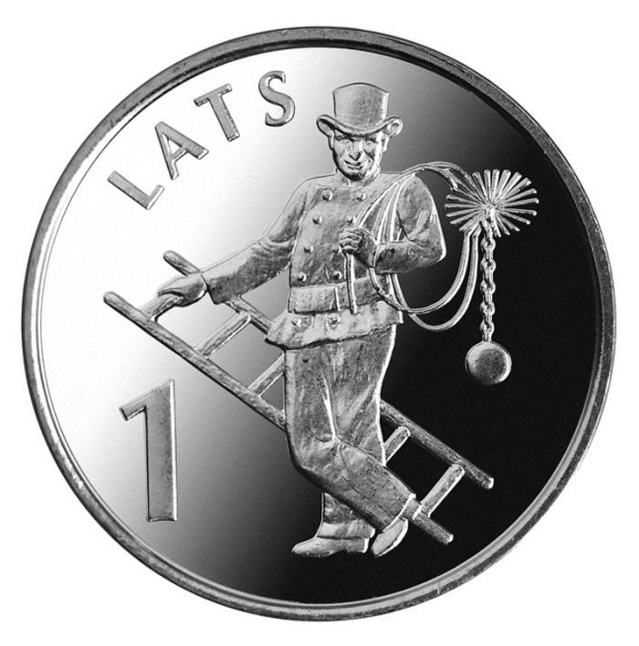 Монета номиналом 1 лат Трубочист. Медно-никелевый сплав. Латвия, 2008 год211104Монета номиналом 1 лат Трубочист. Латвия, 2008 год Диаметр 2,1 см. Сохранность UNC (без обращения).