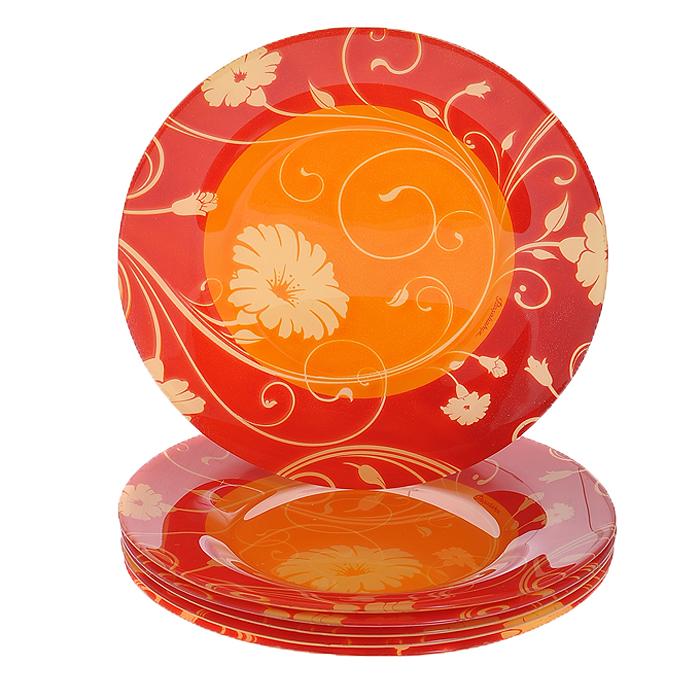 Набор тарелок Serenade, цвет: оранжевый, красный, 6 шт10327BD1Набор Serenade состоит из шести тарелок, выполненных из закаленного стекла, благодаря чему посуда будет использоваться очень долго, при этом сохраняя свой внешний вид. Тарелки декорированы рисунком в виде цветов на оранжевом и красном фоне. Они сочетают в себе изысканный дизайн с максимальной функциональностью. Оригинальность оформления тарелок придется по вкусу и ценителям классики, и тем, кто предпочитает утонченность и изящность. Набор тарелок Serenade послужит отличным подарком к любому празднику.