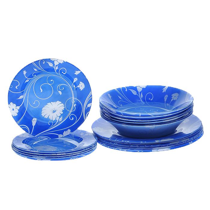 Набор тарелок Serenade, цвет: синий, голубой, 18 предметов95401BD2Набор Serenade состоит из шести глубоких, шести десертных и шести плоских тарелок, выполненных из закаленного стекла. Тарелки декорированы рисунком в виде цветов на синем и голубом фоне. Они сочетают в себе изысканный дизайн с максимальной функциональностью. Оригинальность оформления тарелок придется по вкусу и ценителям классики, и тем, кто предпочитает утонченность и изящность. Набор тарелок Serenade послужит отличным подарком к любому празднику.