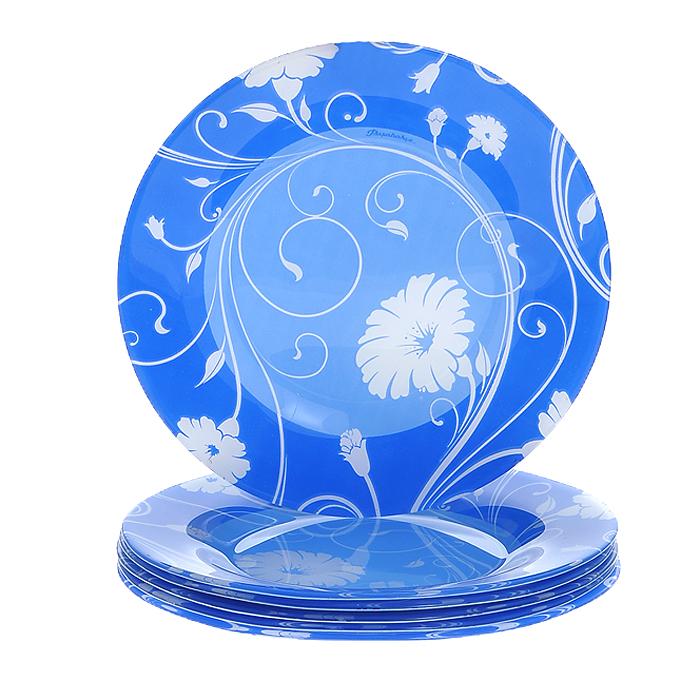 Набор тарелок Pasabahce Workshop Serenade, цвет: синий, диаметр 26 см, 6 шт10328BD2Набор Serenade состоит из шести тарелок, выполненных из закаленного стекла. Тарелки декорированы рисунком в виде белых цветов. Они сочетают в себе изысканный дизайн с максимальной функциональностью. Оригинальность оформления тарелок придется по вкусу и ценителям классики, и тем, кто предпочитает утонченность и изящность. Набор тарелок Serenade послужит отличным подарком к любому празднику.